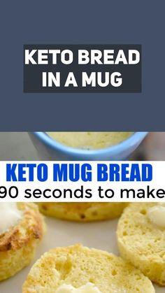 Low Carb Recipes, Bread Recipes, Keto Mug Bread, Keto Friendly Bread, Healthy Eating, Lunch, Diet, Snacks, Baking