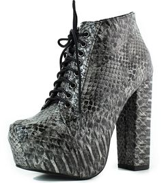 Women's Spikes Studs Platform Ankle Bootie Snake Skin Chunky High Heel Lace Up Boots Fashion Shoes