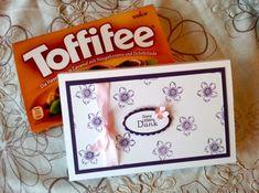 Schokoladenverpackung / Toffiffee-Verpackung mit Stampin' Up! Petite Petals und Perfekte Pärchen in den Farben Flüsterweiß, Aubergine und Zartrosa