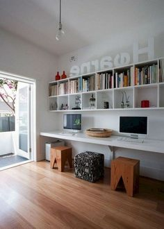 Beautiful Contemporary Office Design Ideas - When furnishing offices, office owners look for new and unique furnishing items. Contemporary office furniture is one such variety of furniture that h. Home Office Space, Home Office Design, Home Office Decor, Home Design, Home Decor, Office Ideas, Design Ideas, Office Furniture Design, Workspace Design