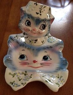 Rare Vintage Lefton Blue Miss Priss Kitty Cat SPOON REST/SHAKER HOLDER 1525,1511