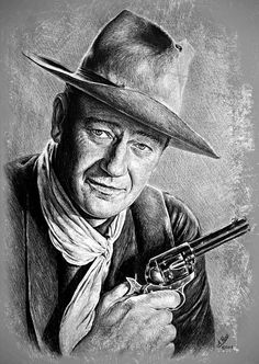 A graphite drawing on smooth bristol board of Western actor John Wayne. John Wayne Quotes, John Wayne Movies, Celebrity Drawings, Celebrity Portraits, Realistic Pencil Drawings, Actor John, Cowboy Art, Western Movies, Western Art