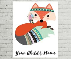 Personalized Printable Fox Printable by MissellaneousPrints Forest Animals, Woodland Animals, Tribal Animals, Cute Animals, Kids Room Art, Art For Kids, Cute Images, Cute Pictures, Illustrations