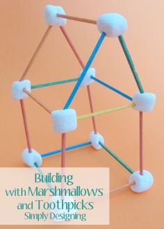 Building with Marshmallows and Toothpicks -  great summer activity to inspire creativity, build fine motor skills and is tasty too!  Great summer Boredom Buster!  from Simply Designing