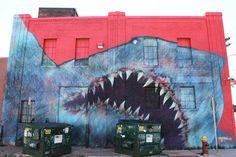 I'm up way too early to shoot @askewone's mural so here is an older @shark__toof piece eating a dumpster. #toof #sharktoof #artnerd #artington #artingwithhalopigg #streetartspringbreak #detroit #detroitvseverybody #detroithustlesharder #1xrun #dumpsterporn by halopigg