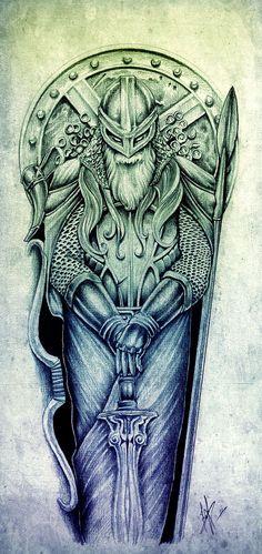 Nice tattoo for my left leg. Viking Symbols, Viking Art, Viking Warrior, Viking Runes, Bild Tattoos, New Tattoos, Body Art Tattoos, Sleeve Tattoos, Rune Tattoo