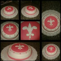 Vainilla cake, filled with dulce de leche. My decoration is made with fondant (pasta ballina in Argentina), it's a beautiful fleur de lis, all made by hand.