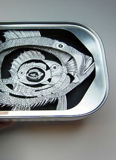 My love of sardines, 3-d drawn art, and small scale is fully realized here.