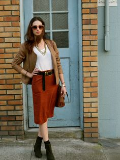 pencil skirt and booties fall outfit