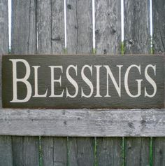 Primitive Wood Sign Blessings Large by scaredycatprimitives