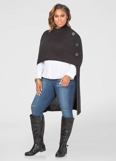 fc90fe8ed8e19 Mock Neck Hi-Lo Poncho Sweater Mock Neck Hi-Lo Poncho Sweater Plus Size.  ashleystewart.com