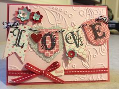 "Great ""LOVE"" card from Stampin' Up!  It features the Spring Catalog Hearts A Flutter Framelits and More Amore DSP.  Everything else is from the Annual Catalog..."