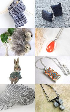 Grey and Orange by KnitWhats on Etsy--Pinned with TreasuryPin.com