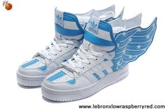 Buy Cheap Adidas X Jeremy Scott Wings 2.0 USA Flag Shoes Blue Fashion Shoes Shop