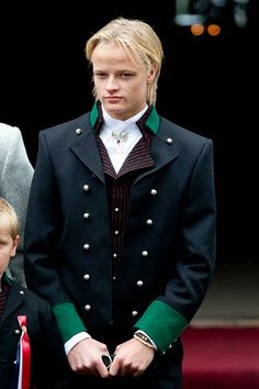 Crown Princess Mette-Marit of Norway's son, Marius Borg Hoiby attends the traditional morning children's parade, at their home, Skaugum, in Asker, near Oslo, on Norway's National Day, on May 17, 2015 in Oslo, Norway
