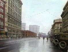 Portage Avenue - from a coloured slide. 1920s, Past, Street View, Canada, Memories, History, City, Photos, Travel