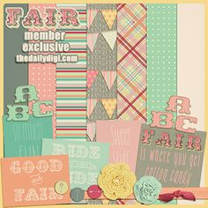 FAIR is the result of some of my favorite things: The silly fair/cotton candy quote, bunting, glitter, and some homespun traditional prints. This is probably the biggest 'mini' kit we have created and it's yours for FREE during September ONLY and just for members. Candy Quotes, Mini S, Bunting, Digital Scrapbooking, Kit, My Favorite Things, Create, Prints, Projects