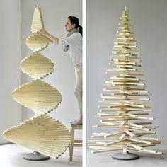 Rettet die Tannenbäume! DIESE Idee ist doch GRENZGENIAL! Selbst gemachter Baum aus Holzlatten: cool, stylisch, wiederverwertbar