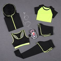 Cheap women yoga sets, Buy Quality yoga set directly from China yoga set women Suppliers: 5 PCS Women Yoga Set for Running T-Shirt Tops Sports Bra Vest Fitness Pants Short sleeve Shorts Pant Gym Workout Sports Suit Set Workout Pants, Workout Gear, Gym Workouts, Gym Wear, Athletic Wear, Sports Women, Fitness Fashion, Sport Outfits, Fit Women
