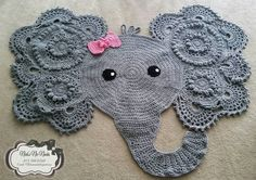 Crochet Elephant Nursery Rug Grey by NicksNicNacks on Etsy