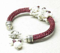 viking knit jewelry | Encrusted Pearl Viking Knit Bracelet by MarigoldJewelry on Zibbet