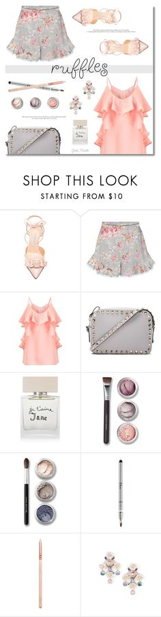 """Add Some Flair: Ruffled Tops ... 2017"" by greta-martin ❤ liked on Polyvore featuring Bionda Castana, Zimmermann, Miss Selfridge, Valentino, Bella Freud, Bare Escentuals, Christian Dior, ZOEVA, BaubleBar and contestentry"