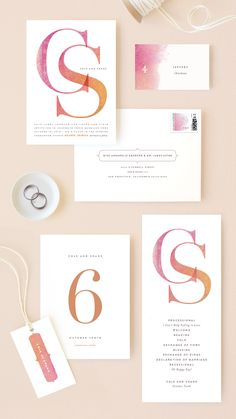 Peach wedding invitation suite available on Minted.com. Add a pop of color to your wedding. By Minted artist, Kelli Hall.