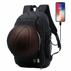 c8a1063840 Multifunction Basketball Backpack Man SportS Bag Gym Bag Inch Laptop with  Basketball Net USB Charging Port Male Bag