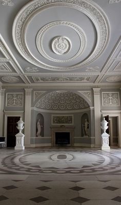 The Entrance Hall of Osterley Park House in outer London. This view shows how the ceiling design is reflected on the floor.