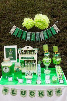 St Patricks Day Birthday Rental jars and decoration setting, Candy bar, sweet buffet