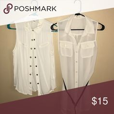 Forever 21 Sleeveless Button Downs One sheer with belt. One thicker material with snap buttons Forever 21 Tops Blouses