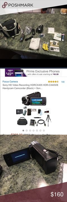 Sony digital video camera plus all the extras! See Amazon picture.  Used twice. https://www.amazon.com/gp/aw/d/B00I52L1LW/ref=mp_s_a_1_1?ie=UTF8&qid=1468540806&sr=8-1&pi=AC_SX236_SY340_QL65&keywords=sony+digital+handycam+hdr+cx+405 Sony Other