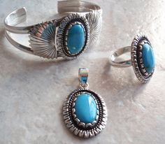 Turquose Sterling Bracelet Ring Pendant Silver Parure Vintage 102013SB by cutterstone on Etsy