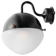 Rounded Black Goose Neck Sconce