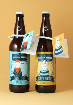 Designed by: The Design Firm | These illustrations have an undeniable sense of intrigue. The personification of the maritime animals creates humour while the atypical colour choice simultaneously makes for an eye-catching label as well as alluding to the nautical theme. As the illustrations are inspired by the residents of the town in which the beer is brewed, the design sits well within the targeted demographic.