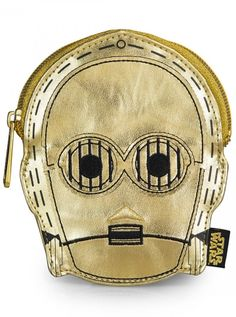 """Star Wars C3PO"" Faux Leather Face Coin Bag by Loungefly (Gold) #inkedshop #c3po #coinbag #gold #fashion #stawars"
