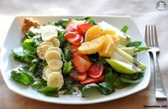 Ingredients: 2 cups fresh spinach, chopped 1/2 green apple, sliced 4 strawberries, sliced 3/4 banana, sliced 1 orange, peeled and separated 1 Tablespoon chia seeds 1 Tablespoon peanut butter 2 Tablespoons lemon juice  Instructions: Plate spinach and arrange with fruit. The prettier the better. Then sprinkle the entire salad with lemon juice and chia seeds. Place peanut butter in the corner for dipping. Marvelous.