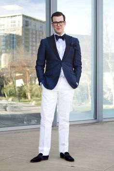Chas Martin in our tuxedo shirt, bow tie, suit and velvet slippers