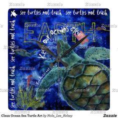 Clean Ocean Sea Turtle Art Square Wall Clock