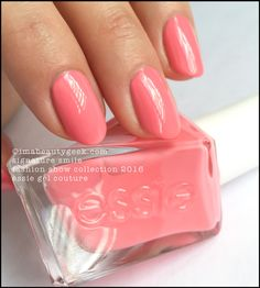 "Essie Signature Smile – sharp fiery rosé (above). My notes here say ""two stoopid-easy coats."" Ha!"