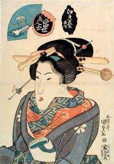 Edo geisha by Utagawa Kunisada, c.1826. Östasiatiska museet, CC-BY-NC-ND
