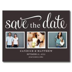 RETRO BLACK | SAVE THE DATE ANNOUNCEMENT POST CARD.  $1.15
