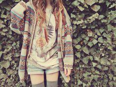 Spring fall- large sweater printed cardigan, comfy, medium shorts large graphic shirt, thigh highs