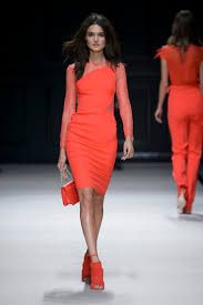 Elisabetta Franchi Orange Red Dress