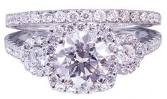 18k White Gold Round Cut Diamond Engagement Ring And Band 1.90ct H-VS2 EGL USA by KNRINC on Etsy