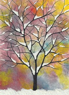 Aceo Original Watercolor Painting MFBart Tree Snow by Deviltree