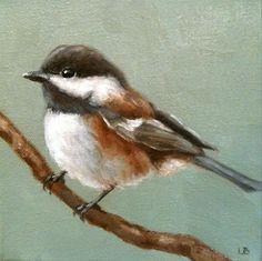 """Little Chickadee"" - Original Fine Art for Sale - © Larisa Brechun"