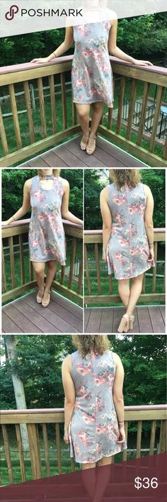 Gray Floral Choker Dress Floral Choker Sleeveless Dress. Rayon/ spandex blend. Model wearing size small. Fits true to size B Chic Boutique Dresses