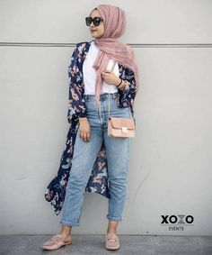 floral kimono-Girl's casual hijab style – Just Trendy Girls