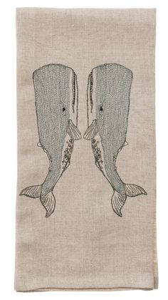 Embroidered Whale Love Tea Towel - Coral & Tusk